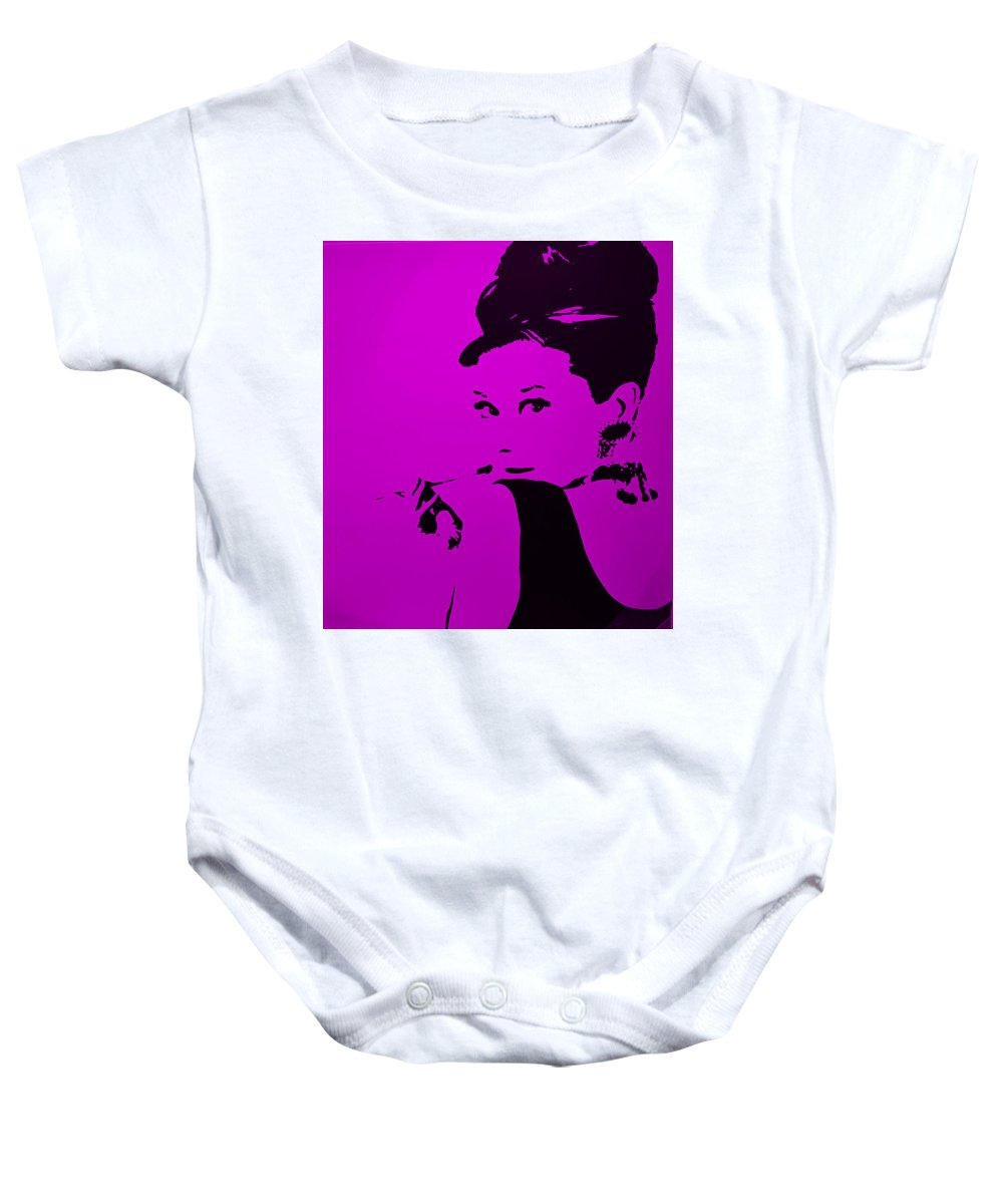 Audrey Hepburn Baby Onesie featuring the photograph Audrey Purple by Rob Hans