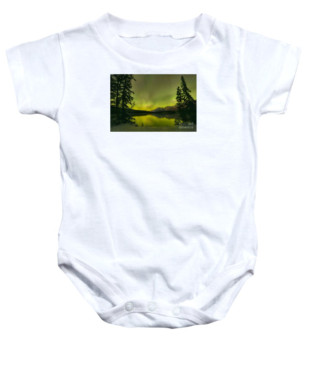 Canadian Northern Lights Baby Onesie featuring the photograph Aurora Over The Forest by Adam Jewell