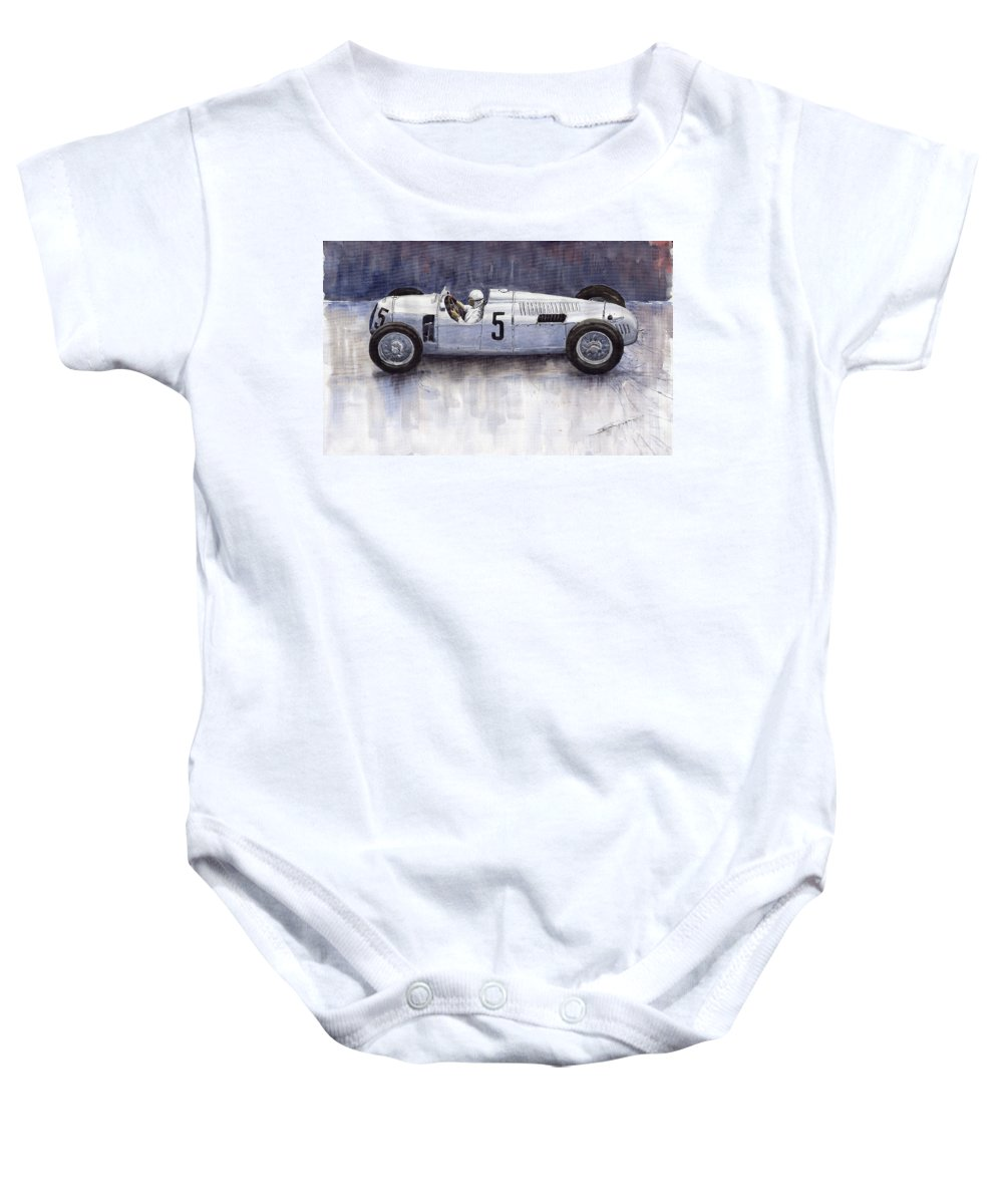 Auto Baby Onesie featuring the painting Auto Union 1936 Type C by Yuriy Shevchuk