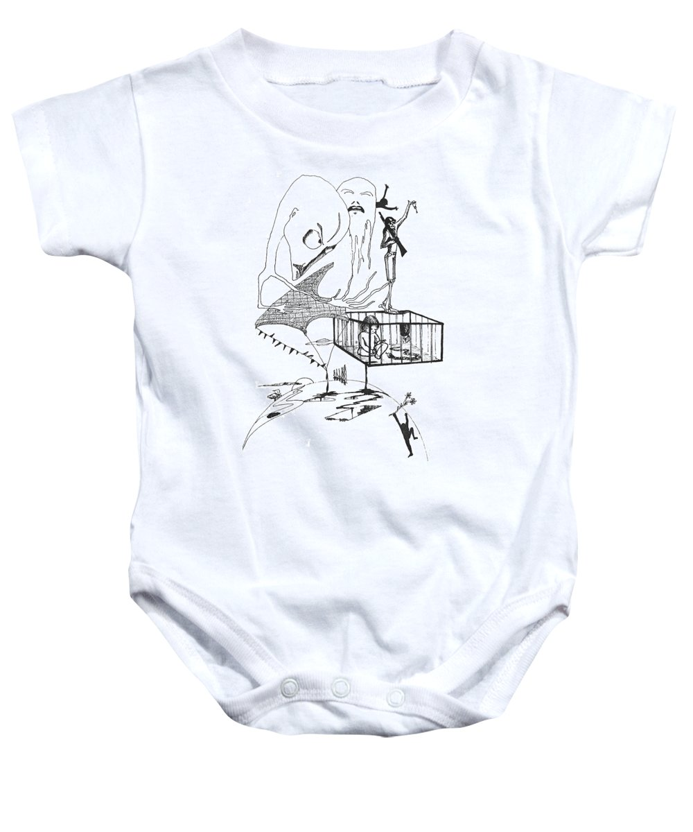 Drawing Pen Automatism Baby Onesie featuring the drawing Automatism by Veronica Jackson