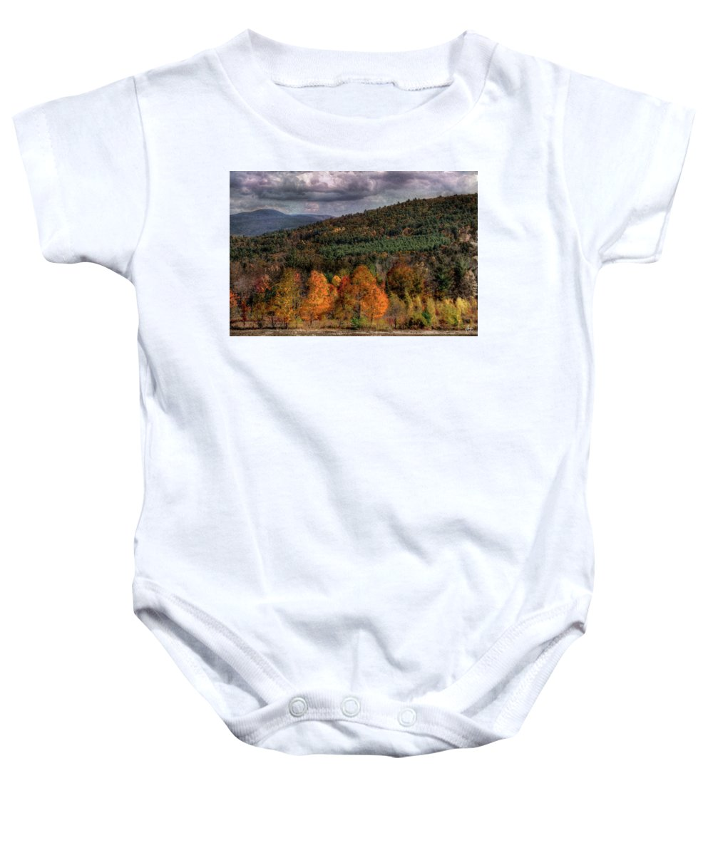 Autumn Baby Onesie featuring the photograph Autumn Fencerow by Wayne King