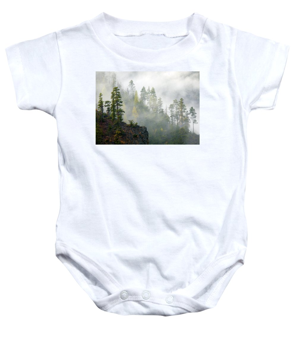 Ridges Baby Onesie featuring the photograph Autumn Mist by Mike Dawson