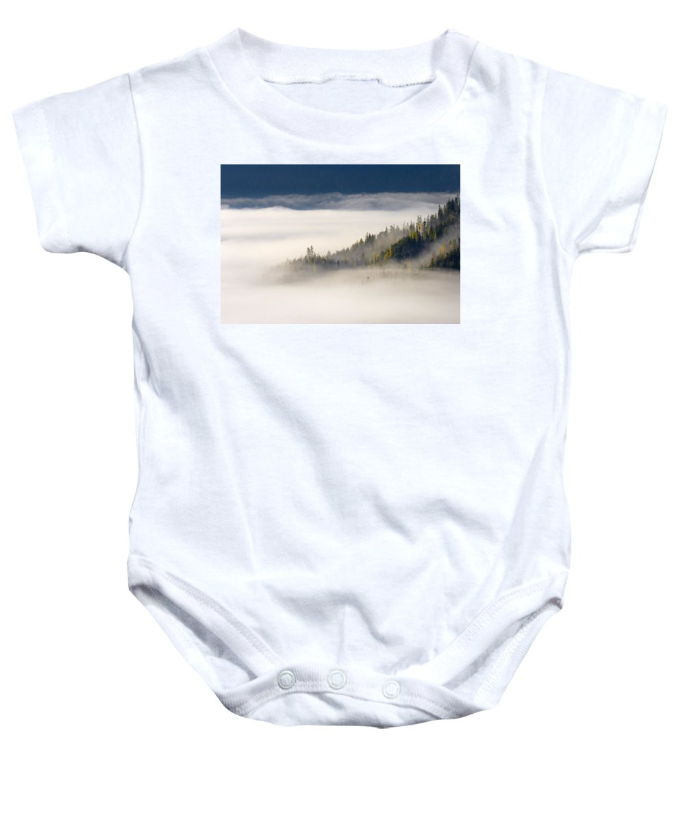 Fog Baby Onesie featuring the photograph Autumn Morn by Mike Dawson