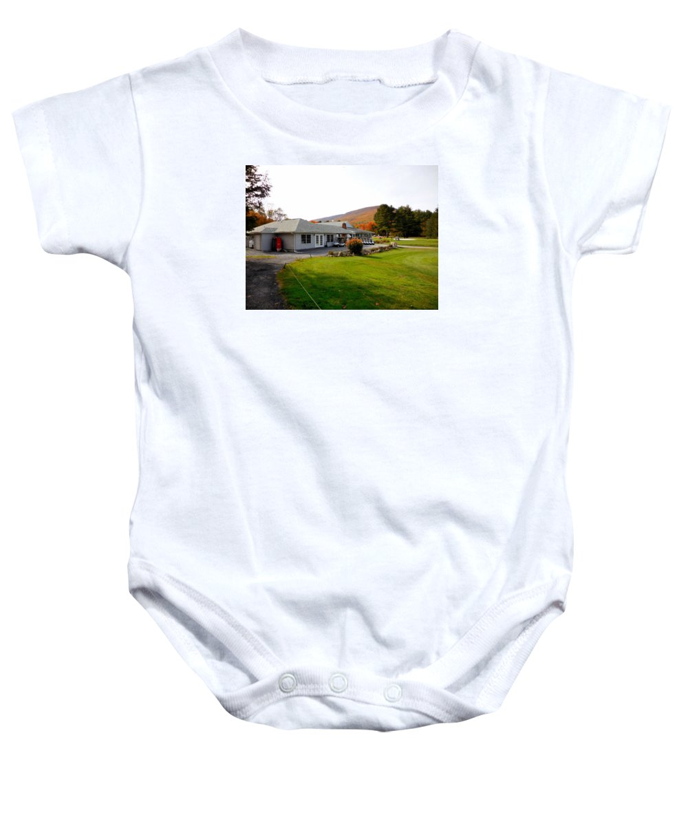 Building Baby Onesie featuring the painting Autumn Mountain Golf Course 6 by Jeelan Clark