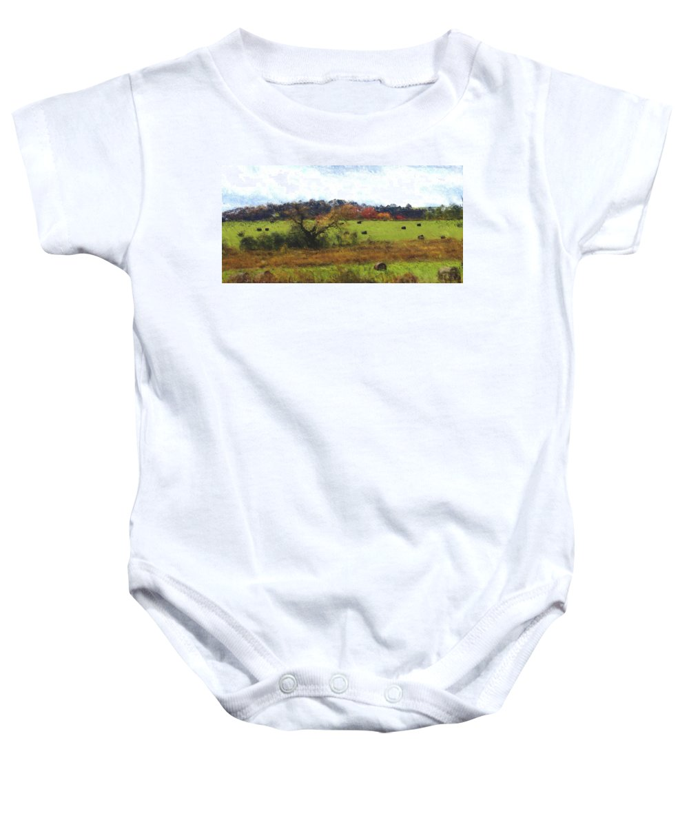 Digital Photograph Baby Onesie featuring the photograph Autumn Pasture by David Lane
