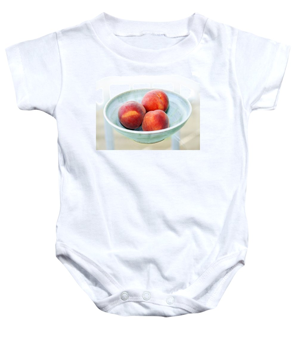 Peaches Baby Onesie featuring the photograph Autumn Peaches by Marilyn Hunt