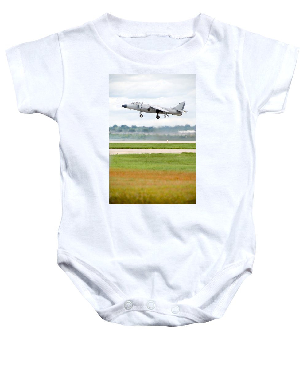 Airplane Baby Onesie featuring the photograph Av-8 Harrier by Sebastian Musial