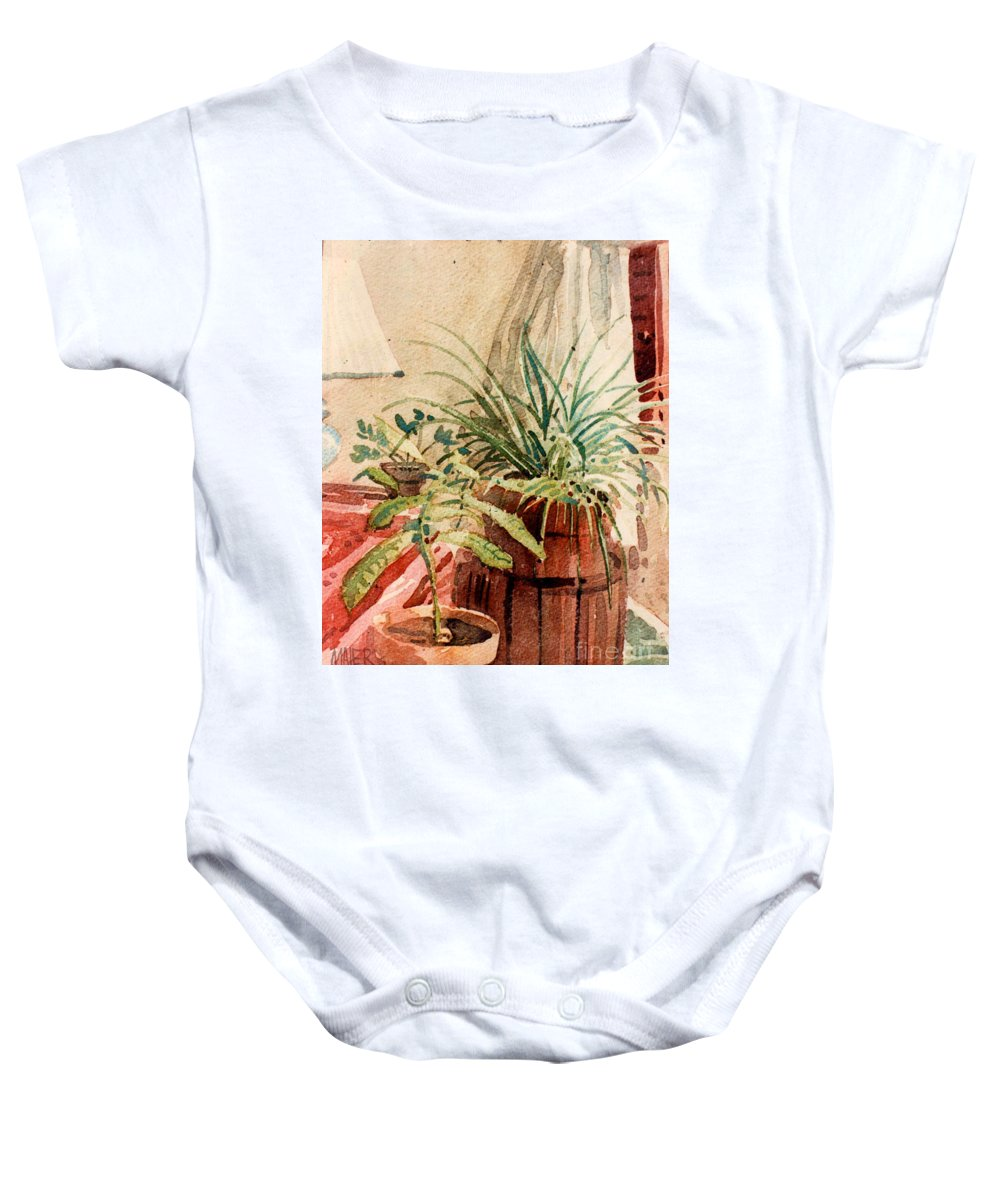 Potted Plants Baby Onesie featuring the painting Avacado And Spider Plant by Donald Maier