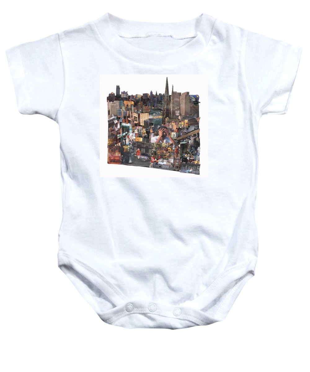 City Baby Onesie featuring the mixed media Avoidance Aka Sit And Stand by Jaime Becker