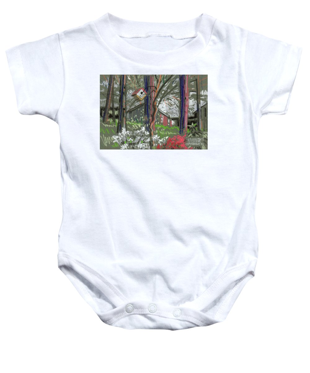 Azalea Baby Onesie featuring the drawing Azaleas In Spring by Donald Maier