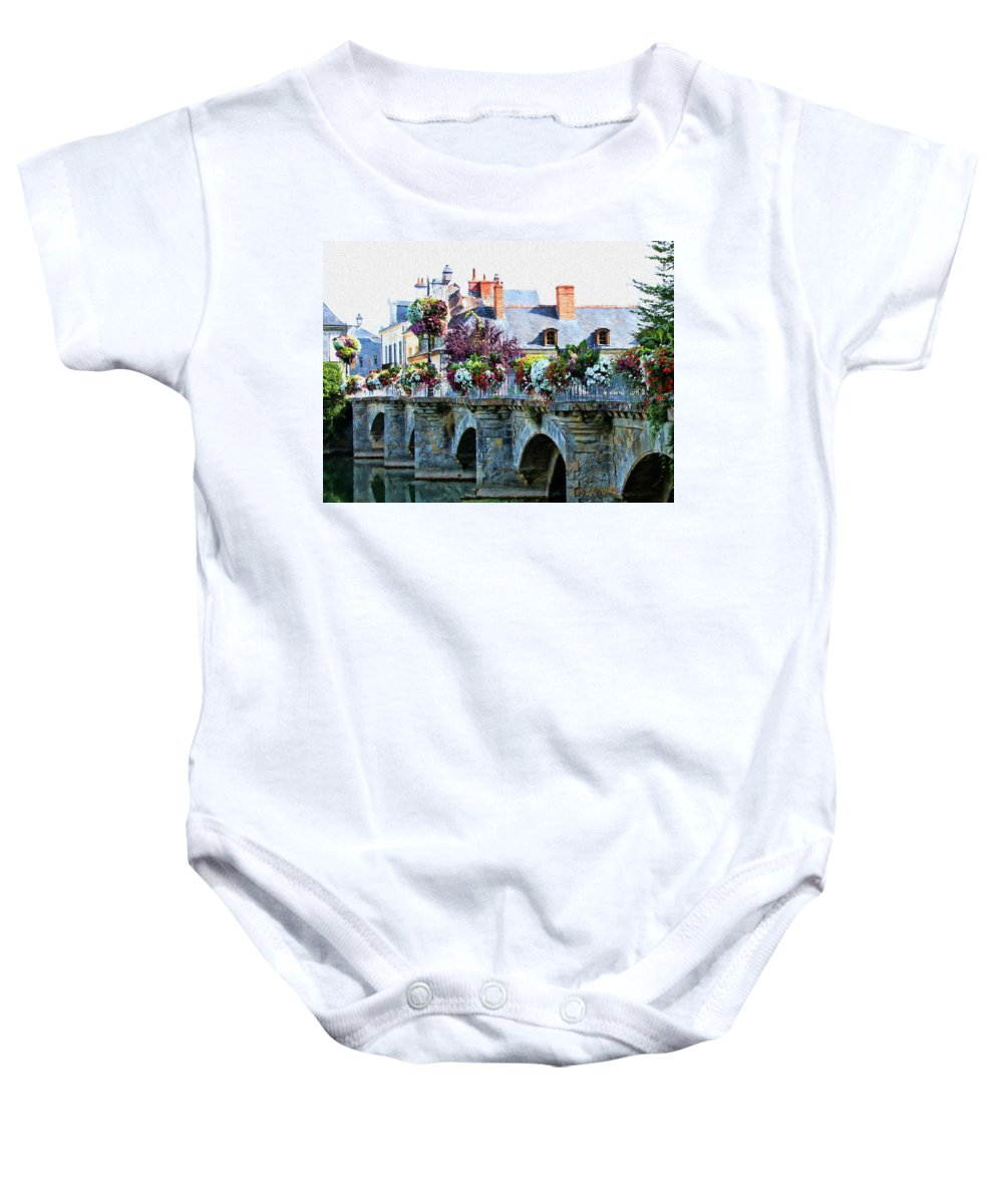 Azay-le-rideau Baby Onesie featuring the photograph Azay-le-rideau, Loire Valley, France, Bridge With Flowers by Curt Rush