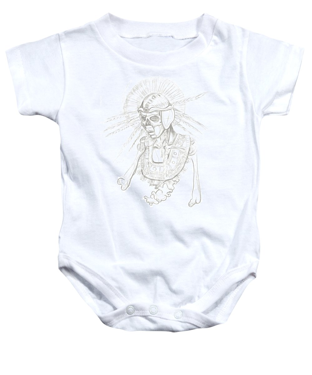 Aztec Baby Onesie featuring the drawing Aztec Warrior by Americo Salazar