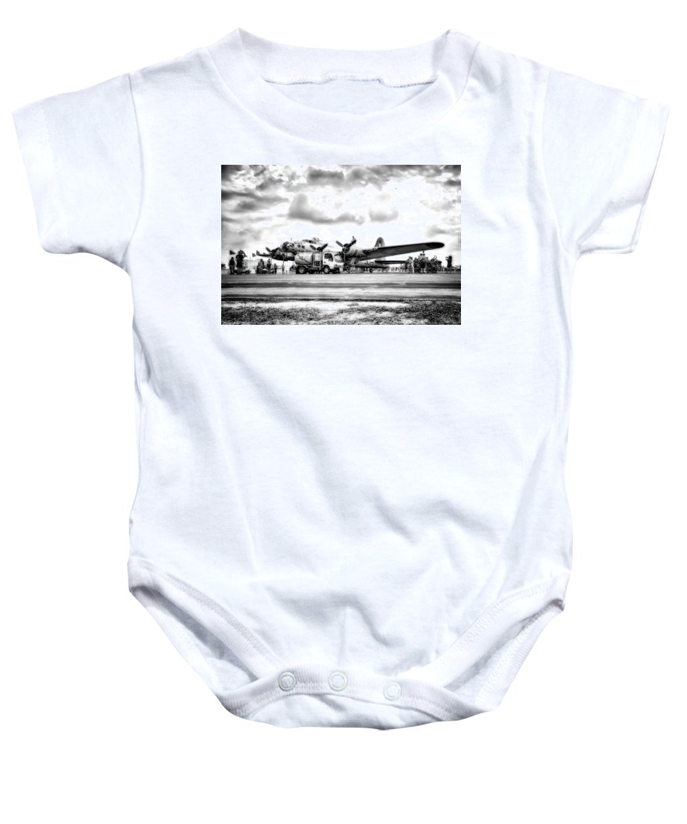 Hdr Baby Onesie featuring the photograph B-17 Bomber Fueling Up In Hdr by Michael White