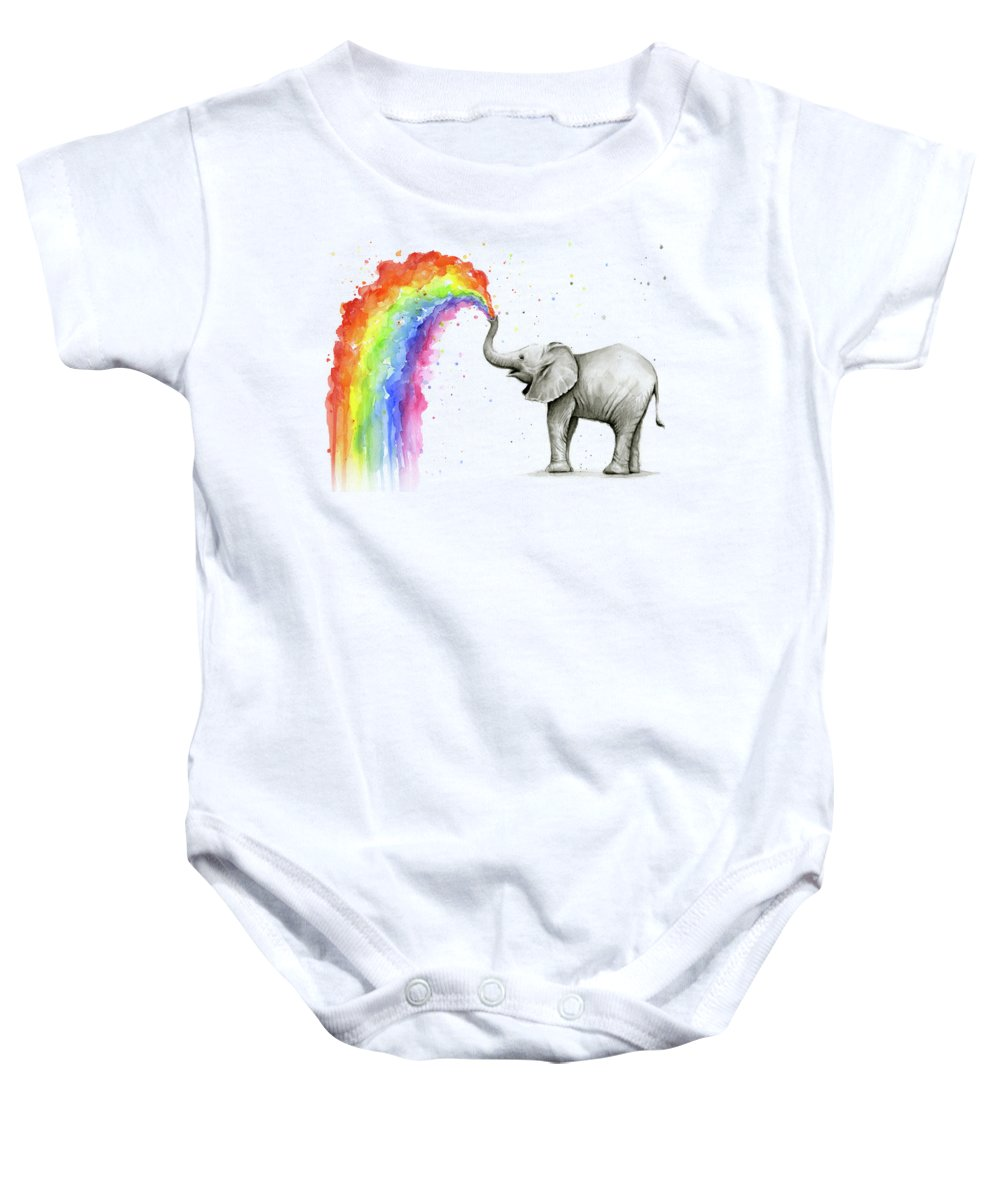 Baby Baby Onesie featuring the painting Baby Elephant Spraying Rainbow by Olga Shvartsur