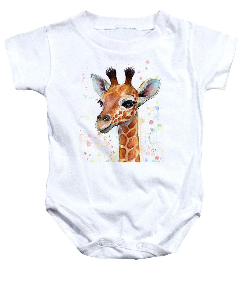 Watercolor Baby Onesie featuring the painting Baby Giraffe Watercolor by Olga Shvartsur
