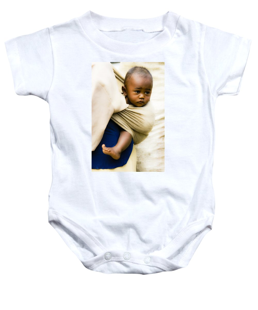Madagascar Baby Onesie featuring the photograph Baby In A Sling by Michele Burgess