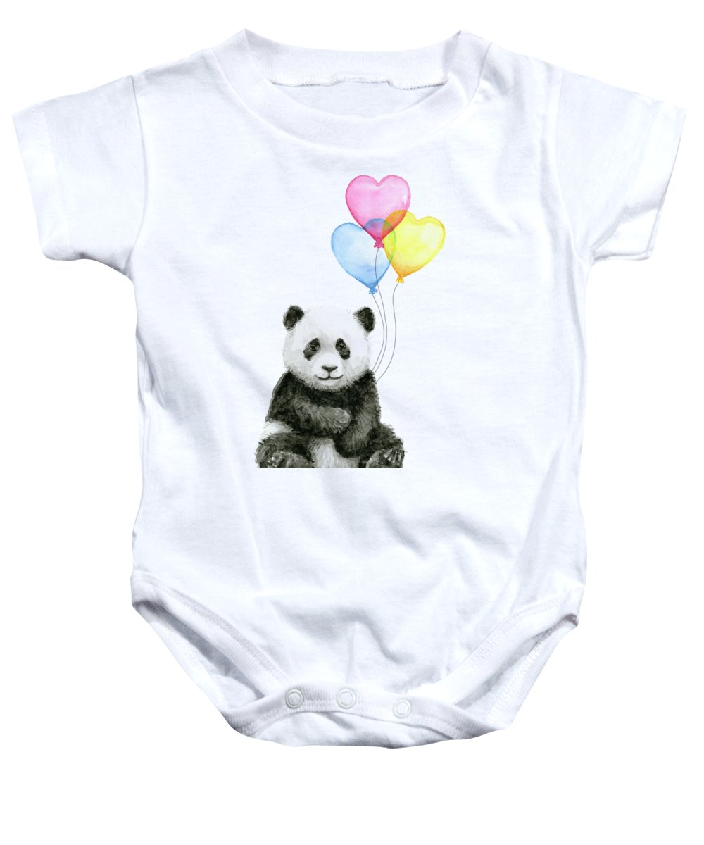 Baby Panda Baby Onesie featuring the painting Baby Panda with Heart-Shaped Balloons by Olga Shvartsur