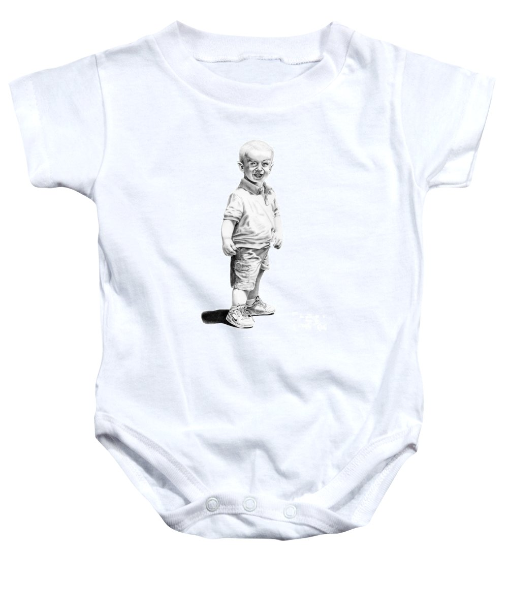 Vulcan Baby Onesie featuring the drawing Baby Spock by Murphy Elliott
