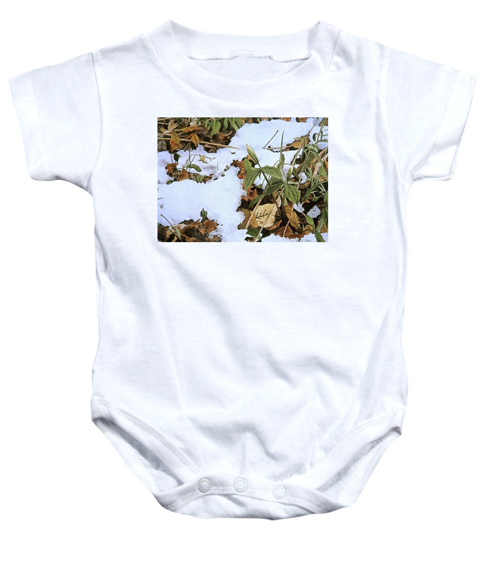 Still Life Baby Onesie featuring the painting Back Forty by Conrad Mieschke