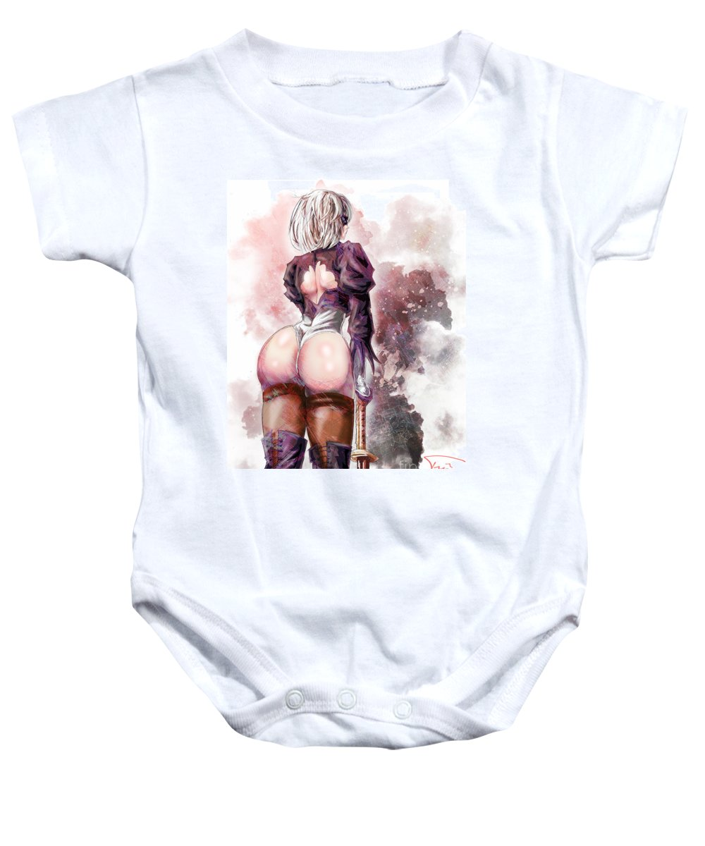 Nier Baby Onesie featuring the drawing Back That Azz Up by Tuan HollaBack