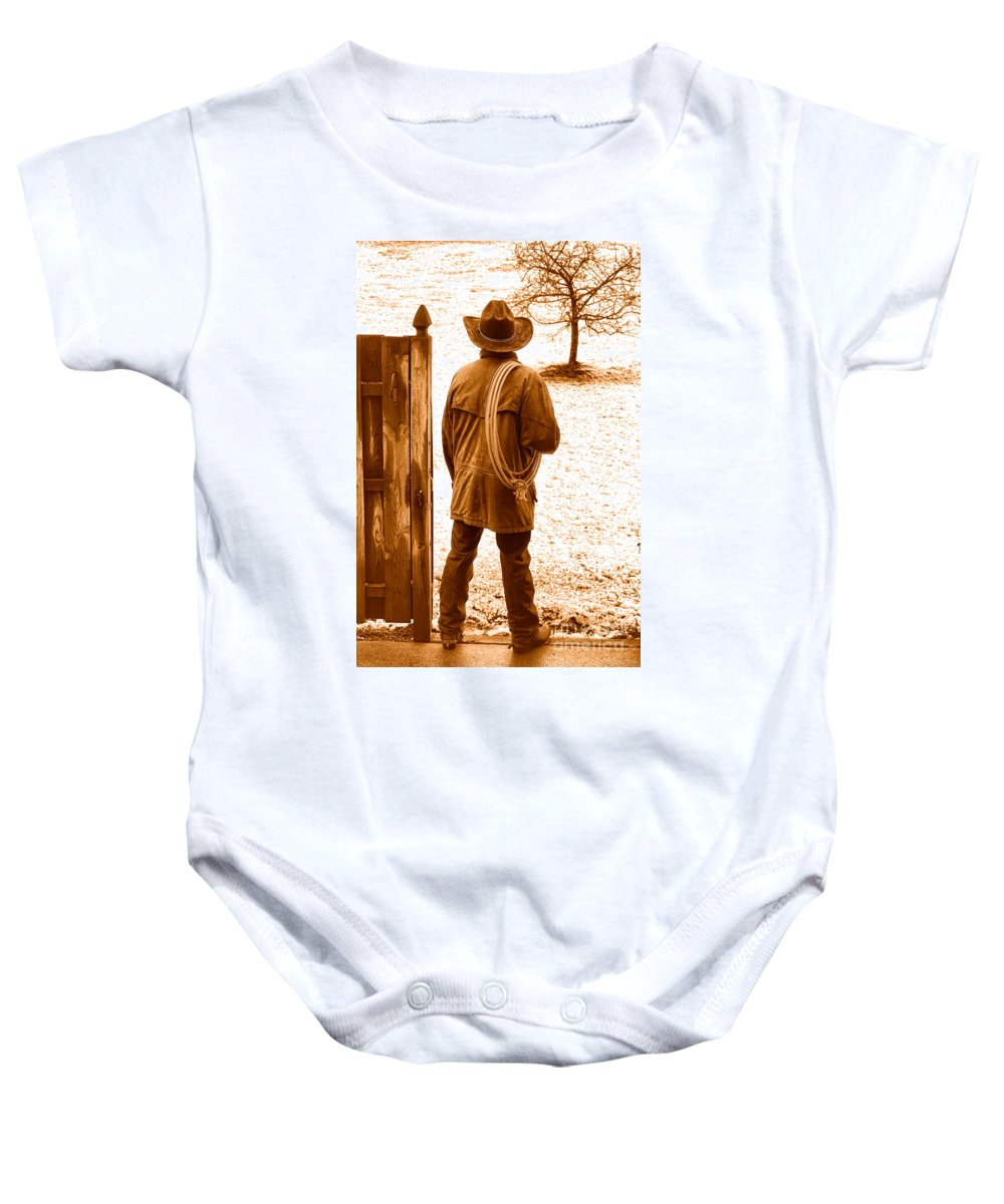 Rodeo Baby Onesie featuring the photograph Back To Work - Sepia by Olivier Le Queinec