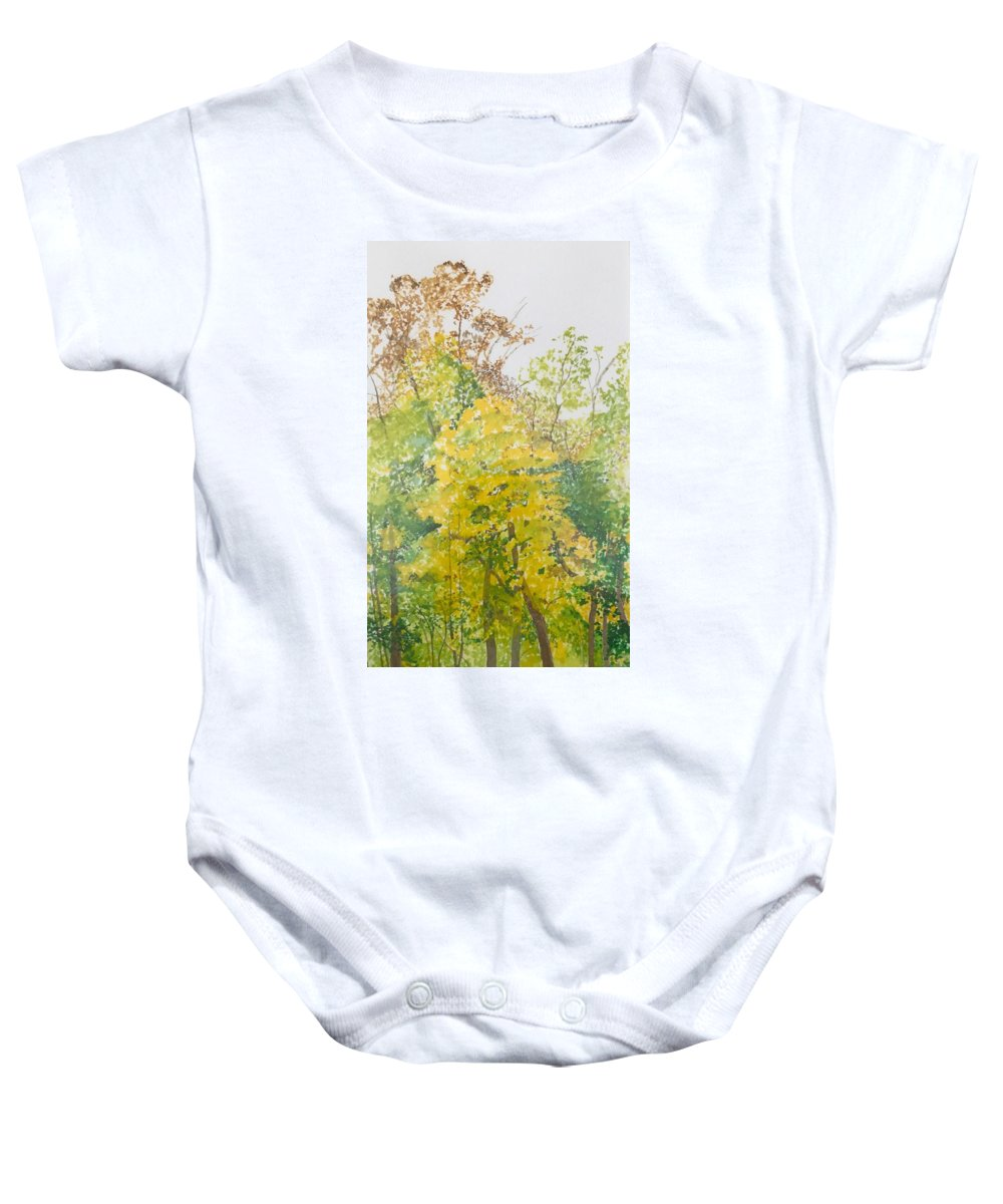 Autumn Baby Onesie featuring the painting Backyard by Leah Tomaino
