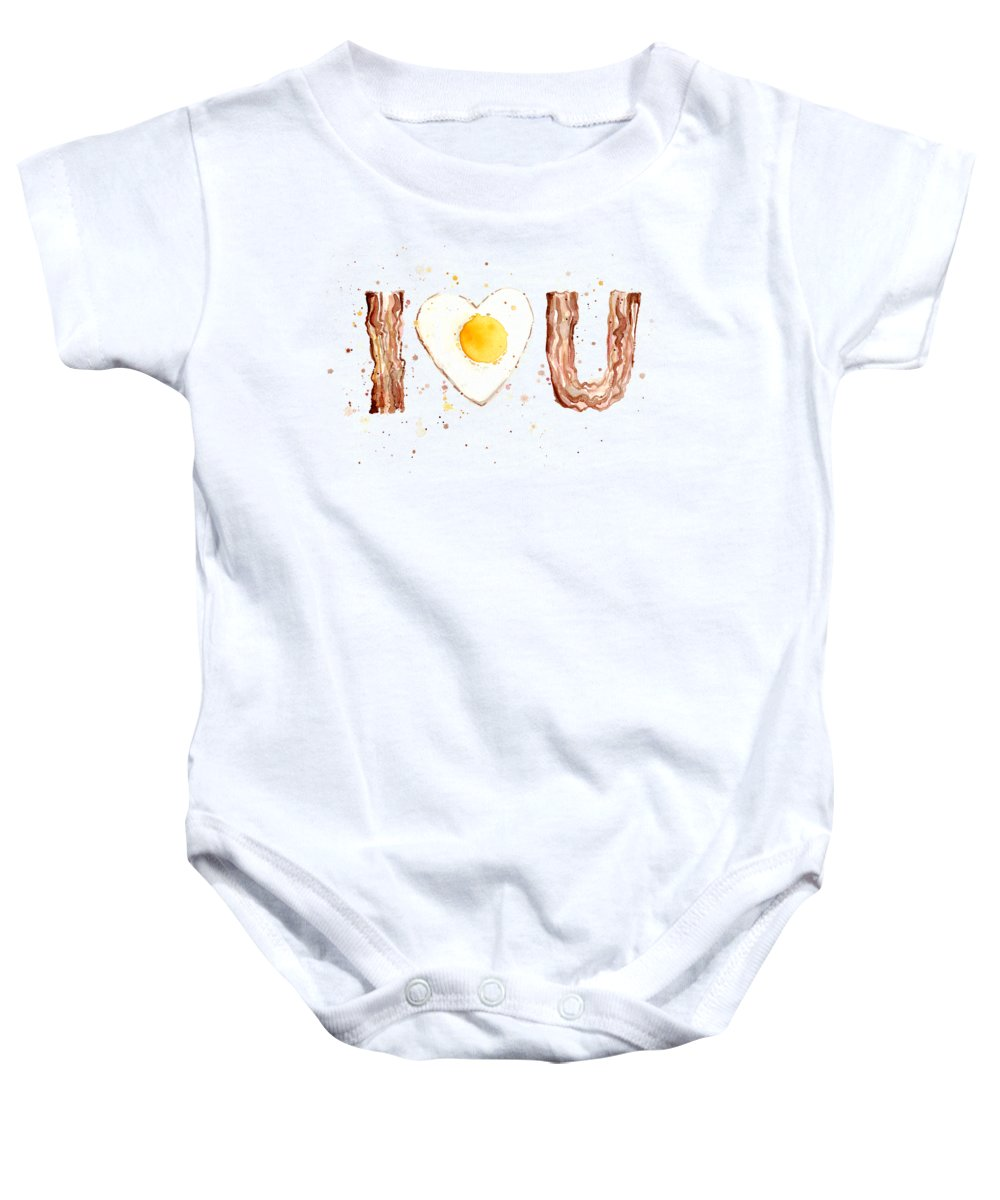 Bacon Baby Onesie featuring the painting Bacon And Egg Love by Olga Shvartsur
