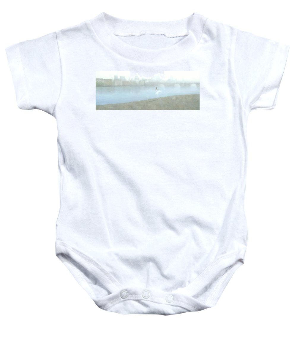 Ballerina Baby Onesie featuring the painting Ballerina On The Thames by Steve Mitchell