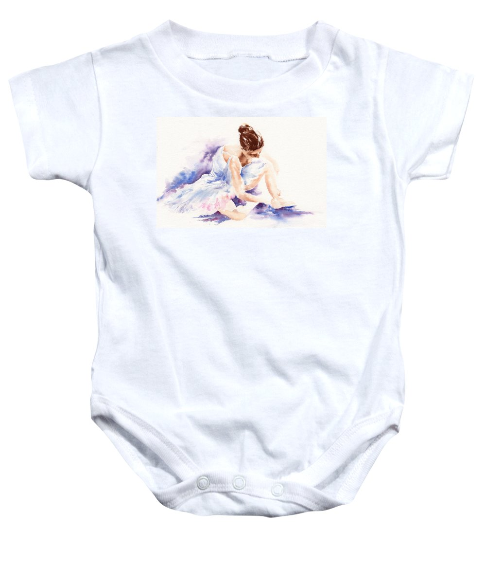 Ballerina Baby Onesie featuring the painting Ballerina by Stephie Butler