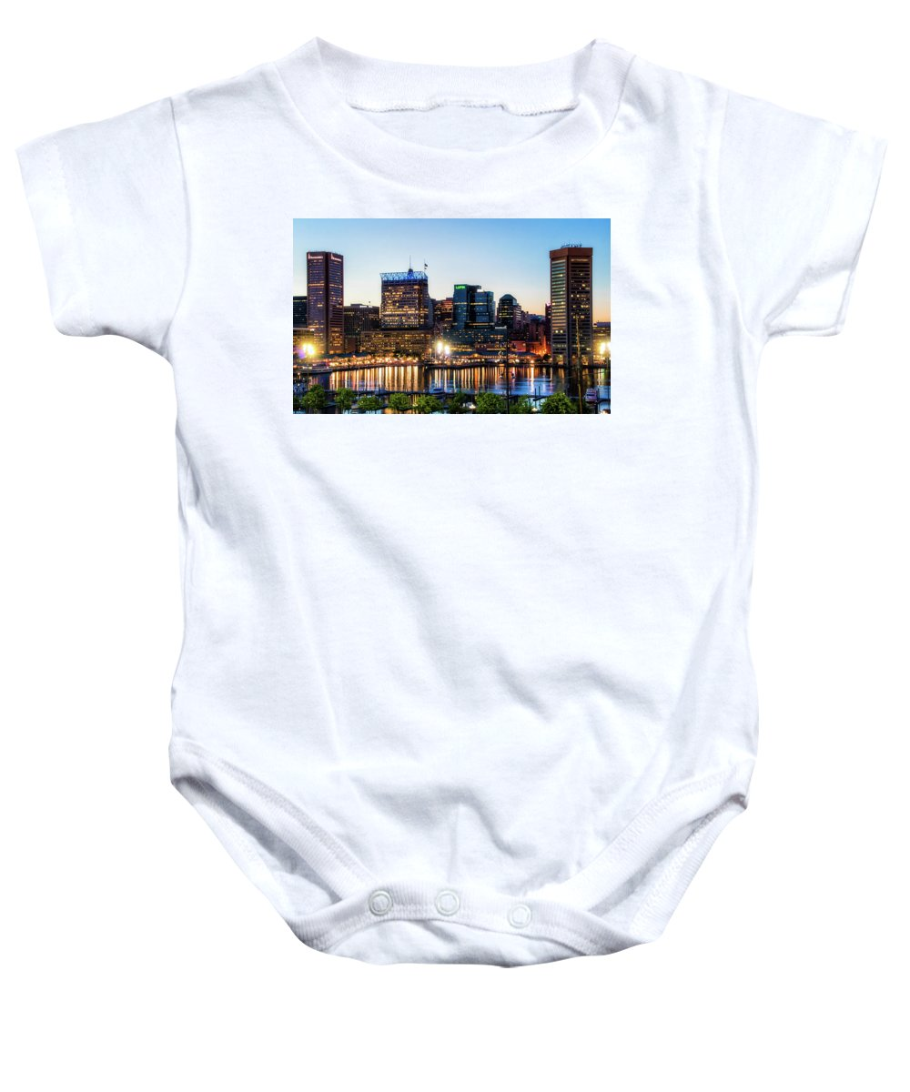 Baltimore Baby Onesie featuring the photograph Baltimore Inner Harbor Reflections by Carol Ward