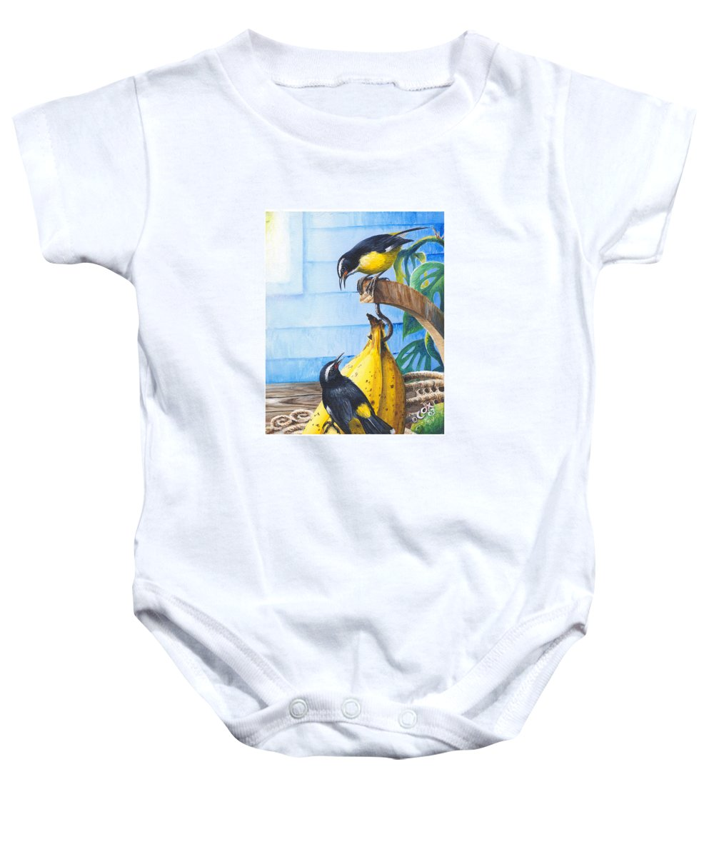 Chris Cox Baby Onesie featuring the painting Bananaquits And Bananas by Christopher Cox