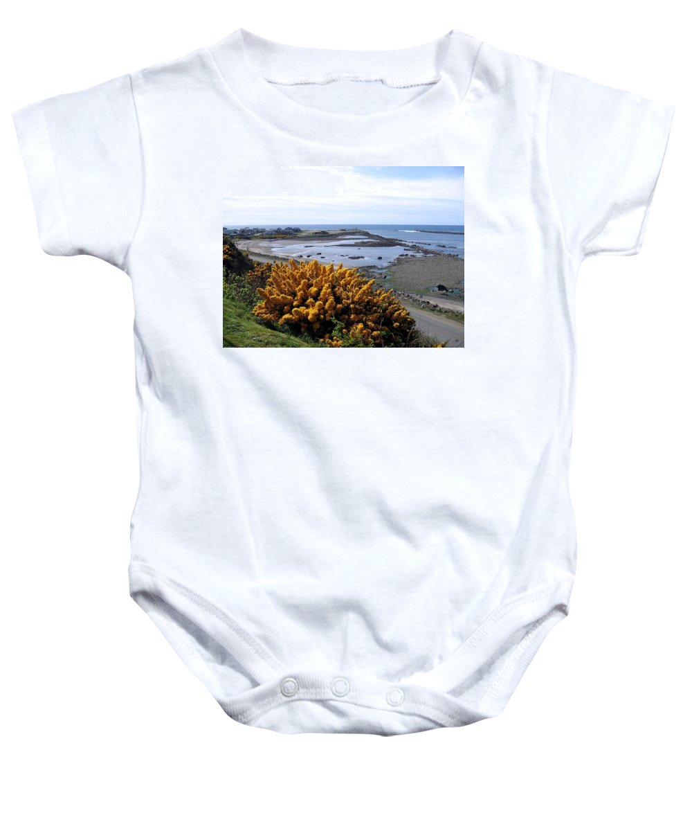 Harbor Entrance Baby Onesie featuring the photograph Bandon Harbor Entrance by Will Borden