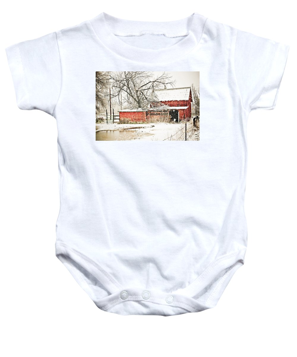 Americana Baby Onesie featuring the photograph Barn And Pond by Marilyn Hunt