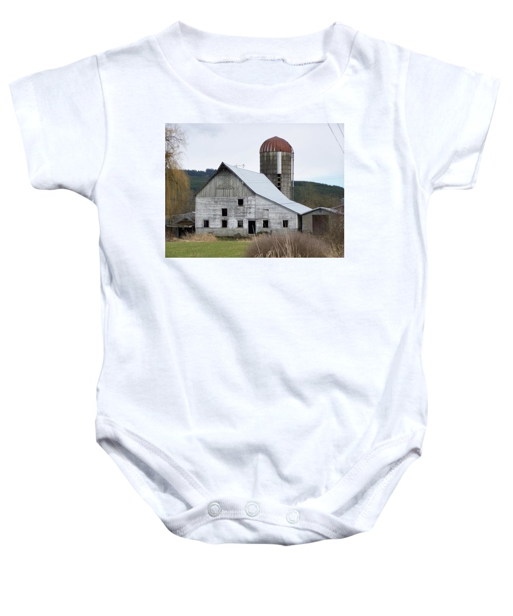 Digital Photography Baby Onesie featuring the photograph Barn And Silo by Laurie Kidd