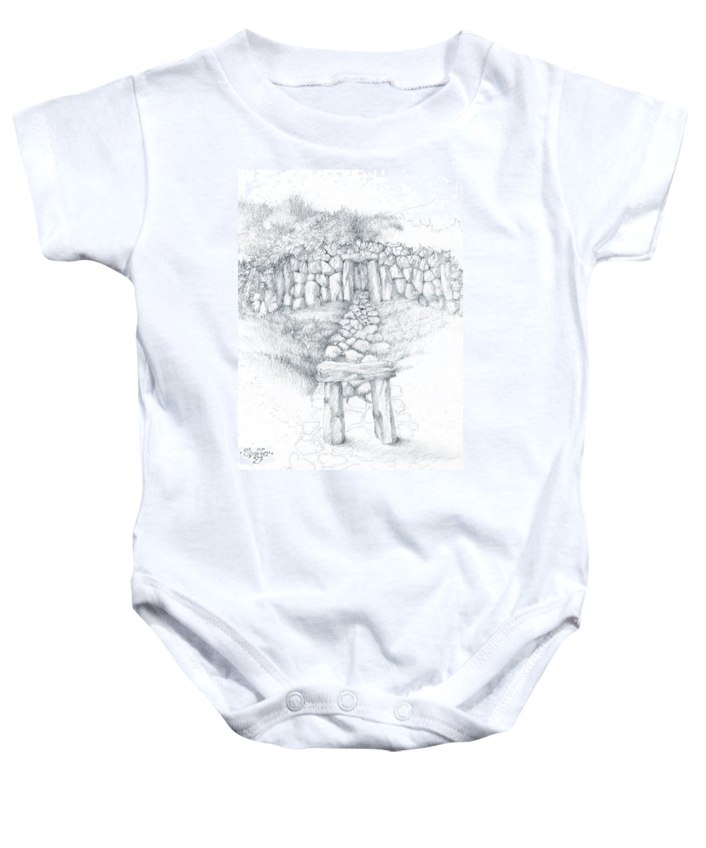 Barrows Baby Onesie featuring the drawing Barrow Tomb by Curtiss Shaffer