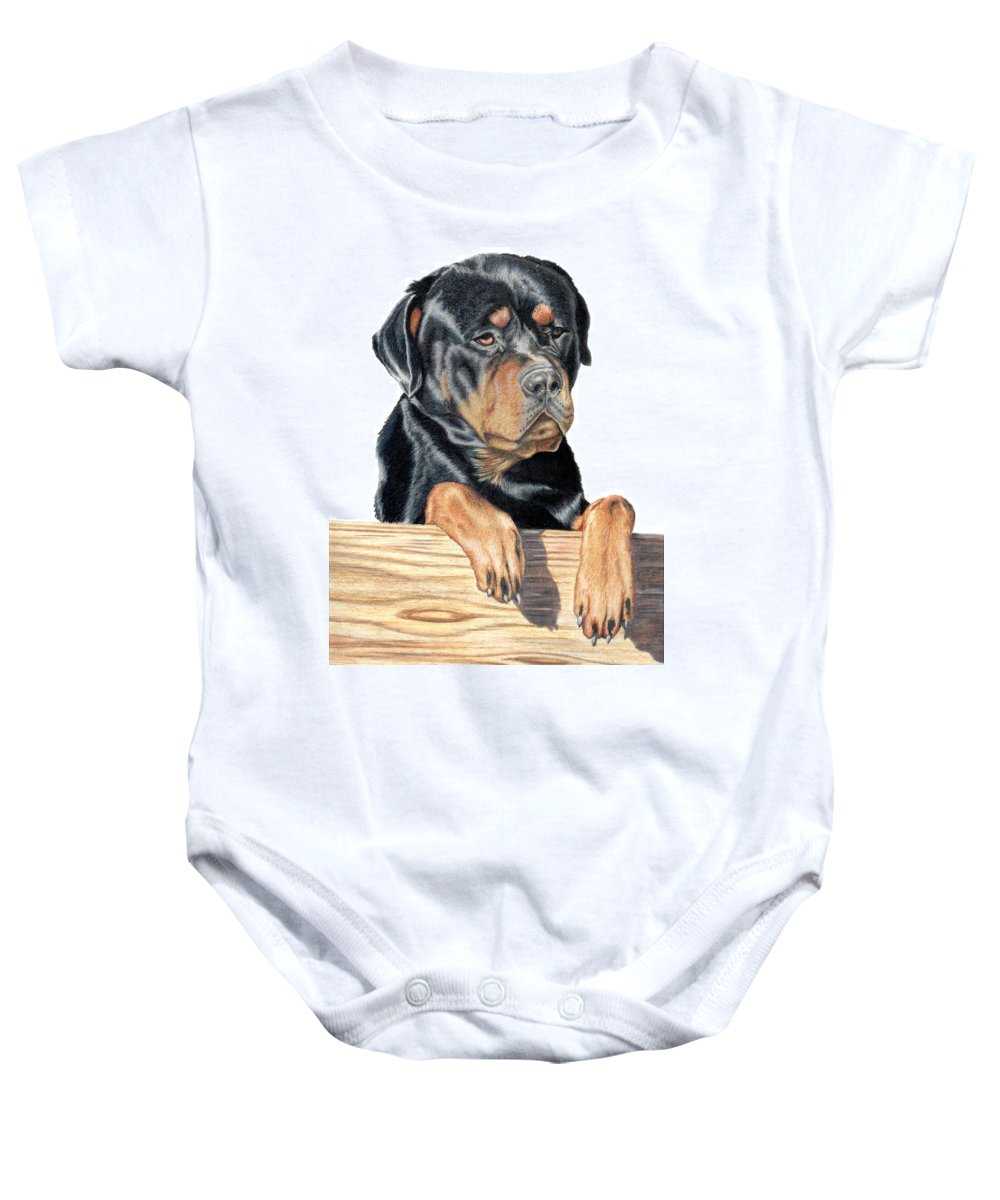 Dog Baby Onesie featuring the drawing Bart by Kristen Wesch