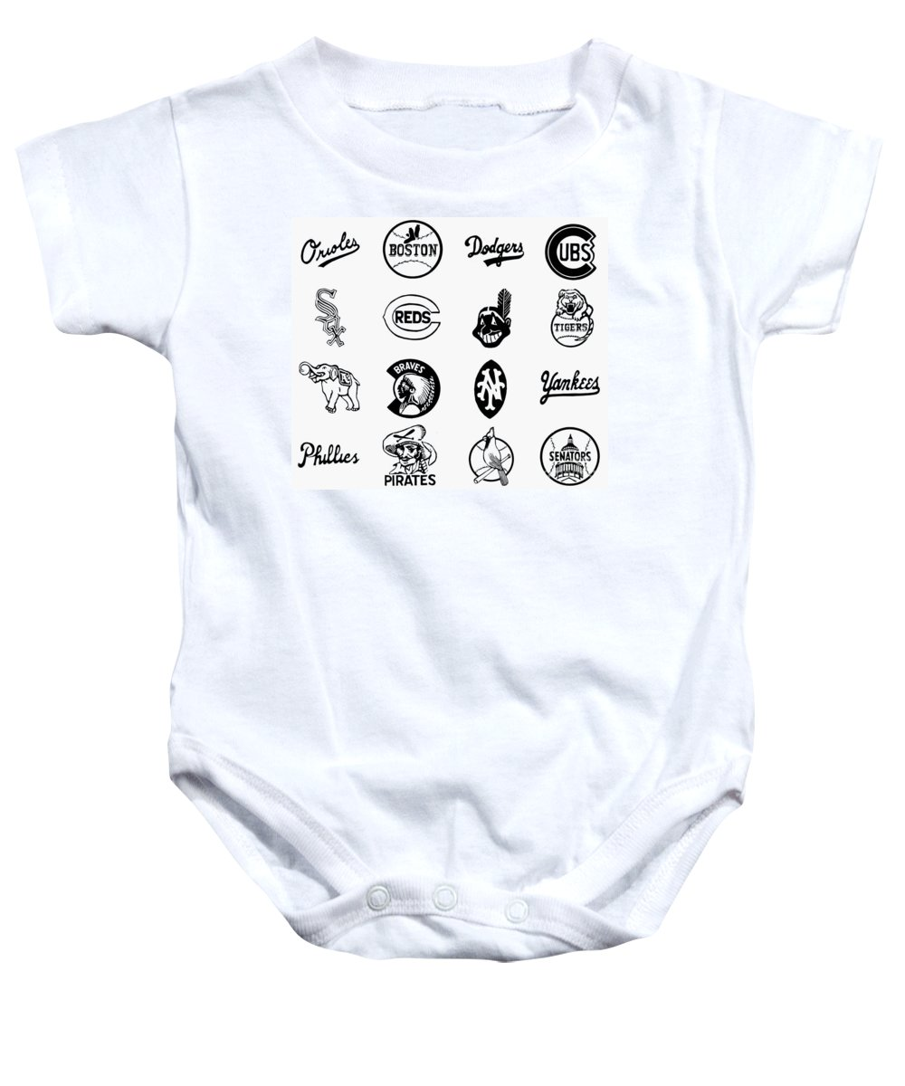 1955 Baby Onesie featuring the photograph Baseball Logos by Granger