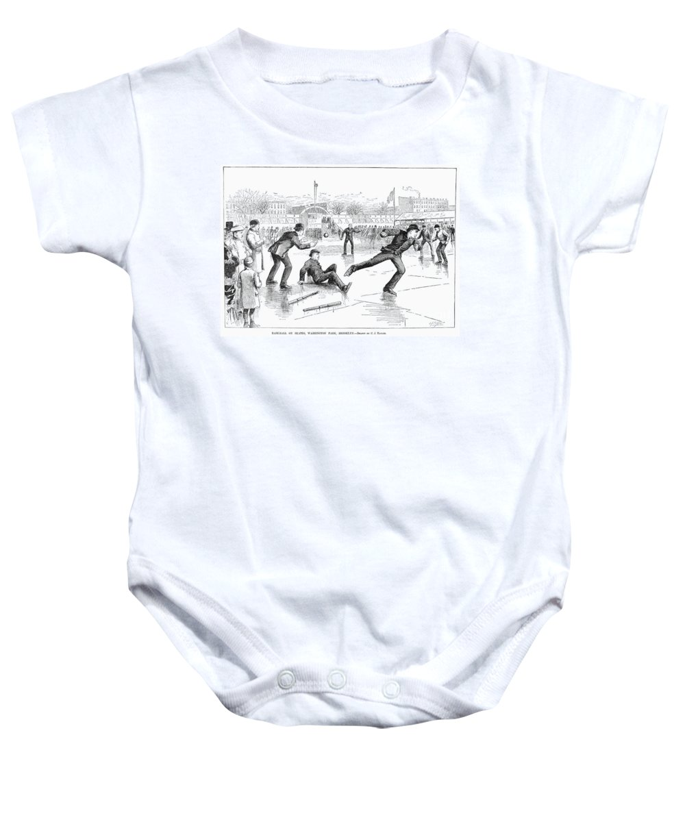 1884 Baby Onesie featuring the photograph Baseball On Ice, 1884 by Granger