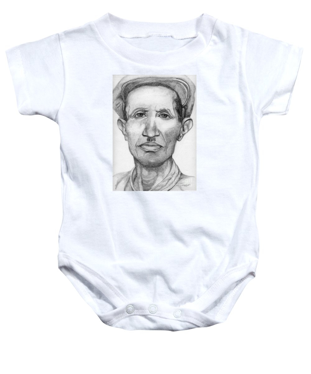 Portrait Baby Onesie featuring the drawing Bashi by Annemeet Hasidi- van der Leij