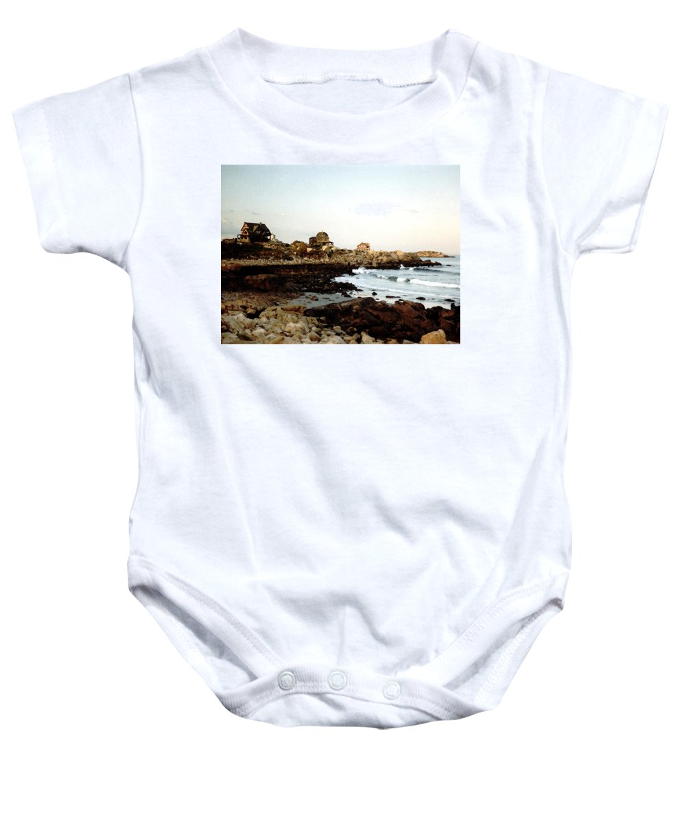 Sea Baby Onesie featuring the painting Bass Rocks Sunset by Paul Sachtleben