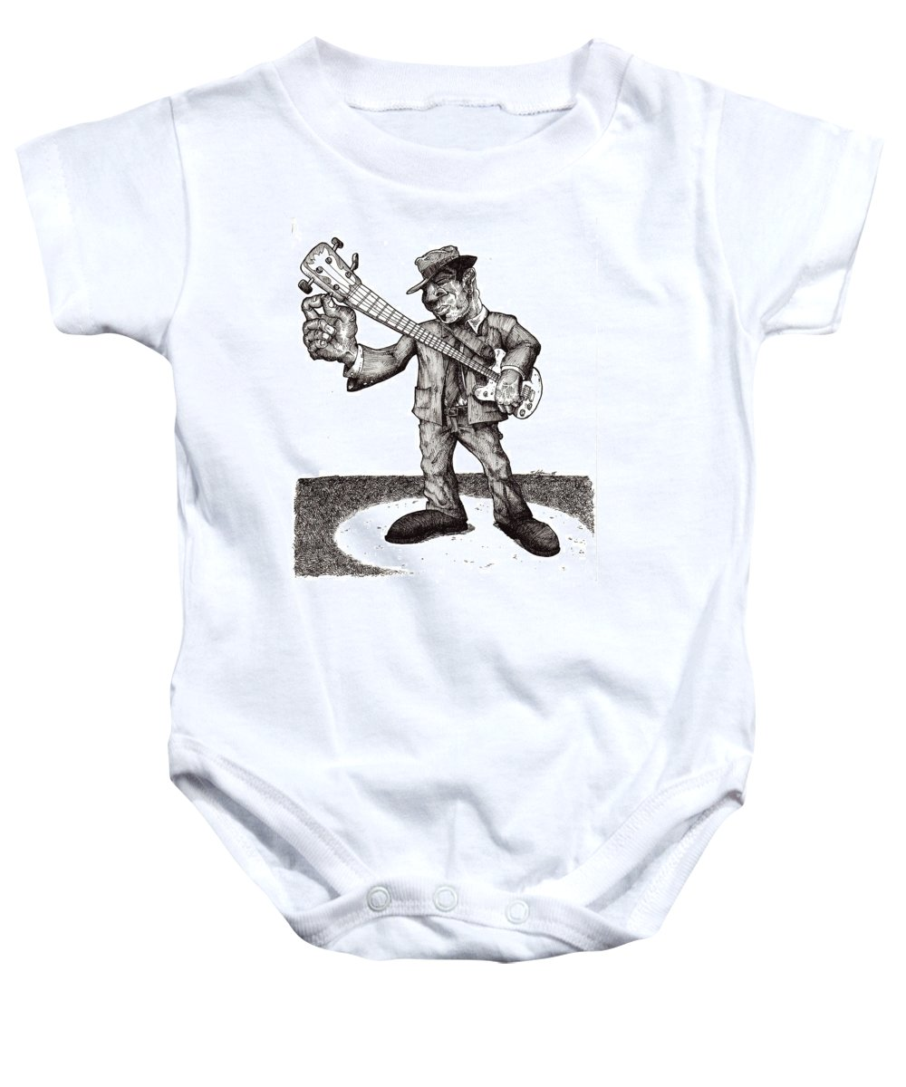 Blues Baby Onesie featuring the drawing Bass by Tobey Anderson