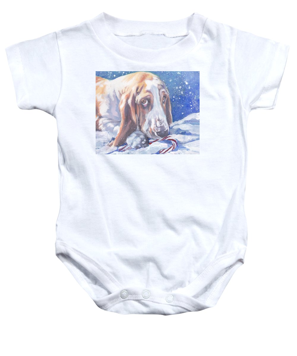 Basset Hound Baby Onesie featuring the painting Basset Hound Christmas by Lee Ann Shepard
