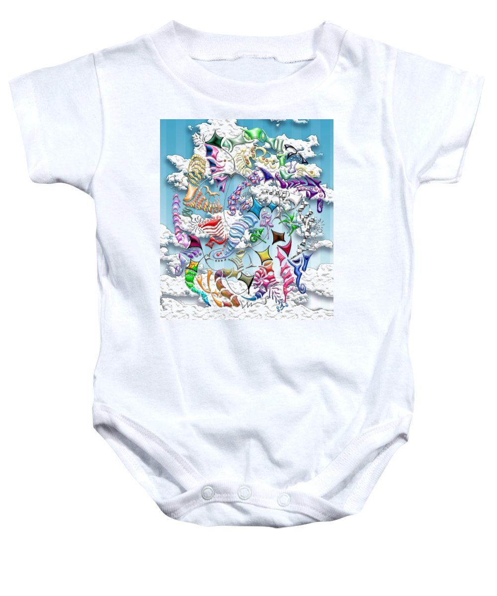 Abstract Baby Onesie featuring the digital art Battling Kites -- Blue by Mark Sellers