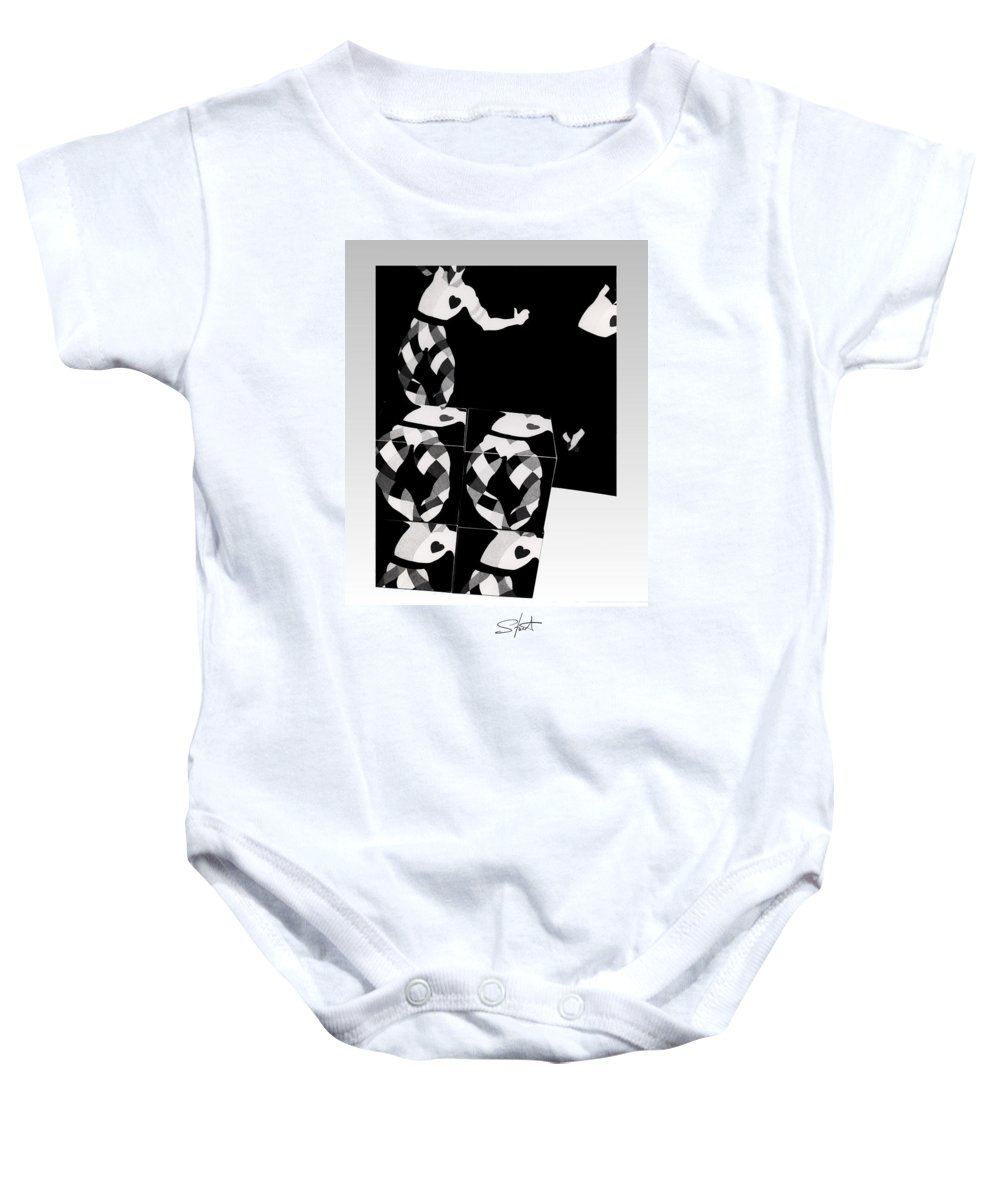 Dance Baby Onesie featuring the photograph Bauhaus Ballet 2 The Cubist Harlequin by Charles Stuart