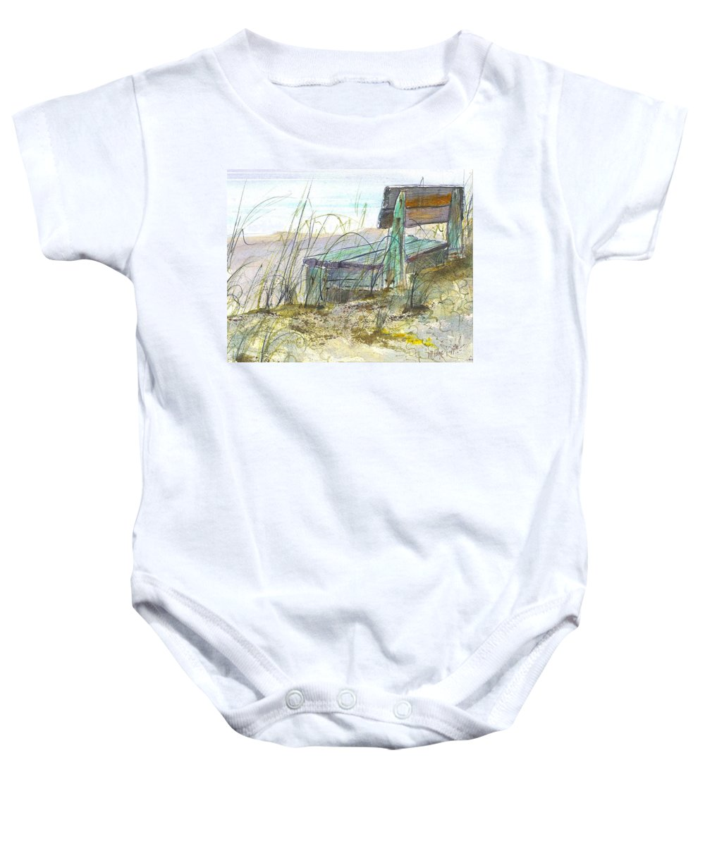 Bench Baby Onesie featuring the painting Beach Bench by Midge Pippel