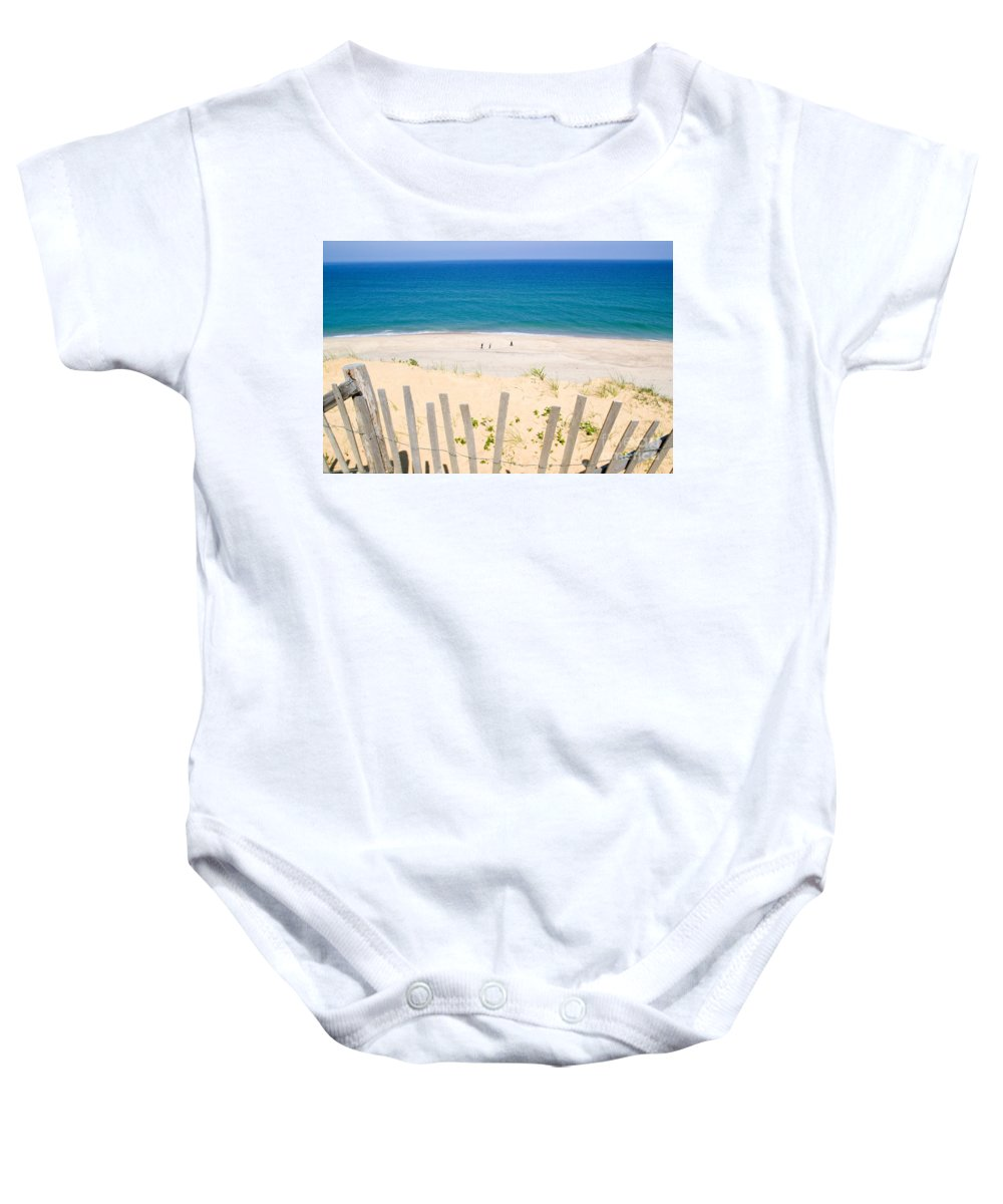 Beach Fence Baby Onesie featuring the photograph beach fence and ocean Cape Cod by Matt Suess