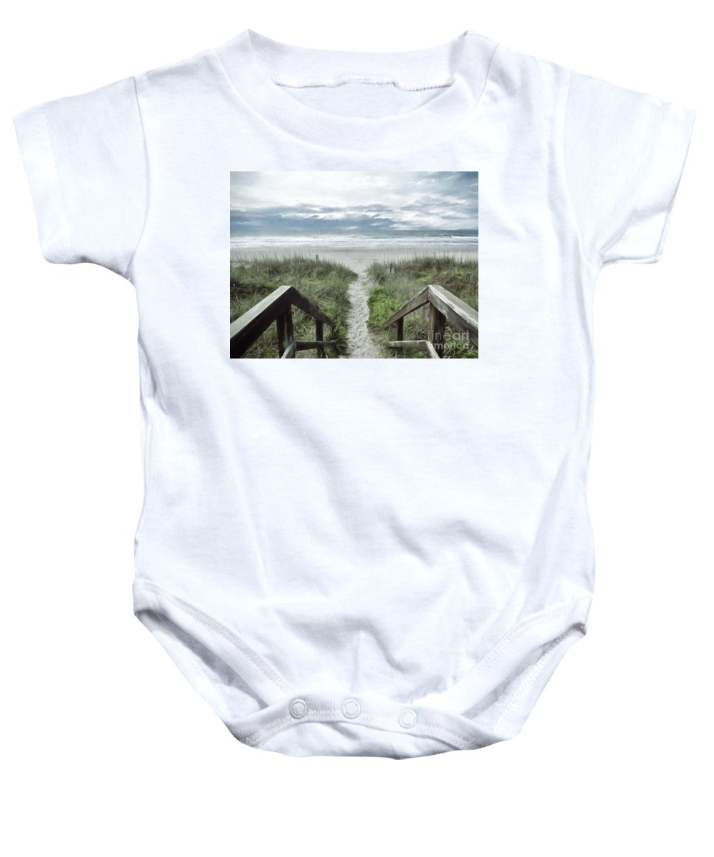 North Carolina Baby Onesie featuring the photograph Beach Path by Kelley Freel-Ebner