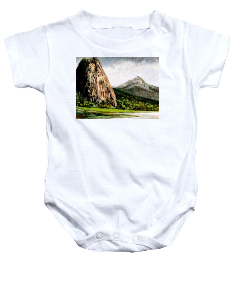 Landscape Baby Onesie featuring the painting Beacon Rock Washington by Jim Gola
