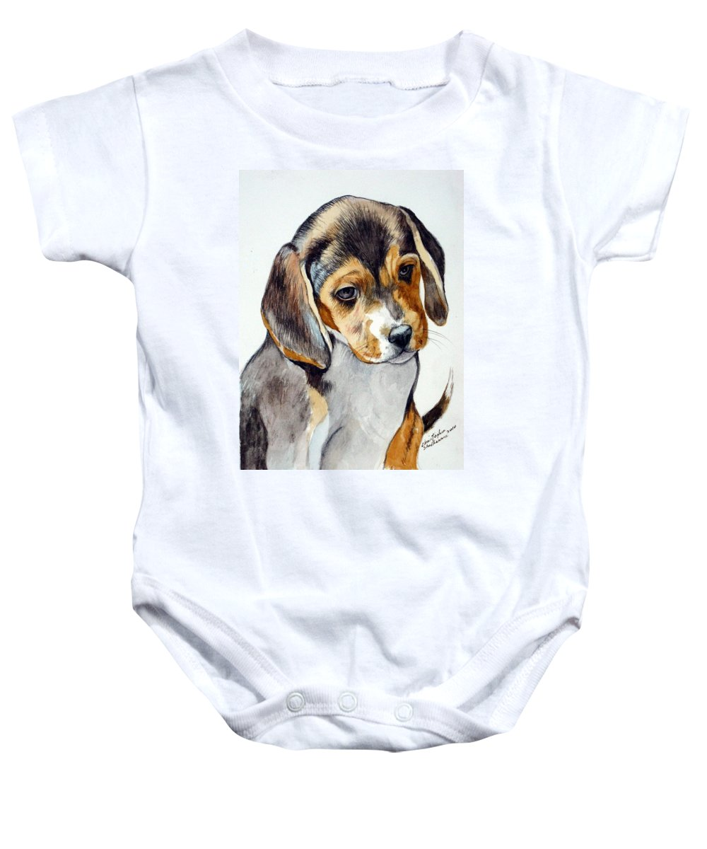 Beagle Baby Onesie featuring the painting Beagle Puppy by Christopher Shellhammer