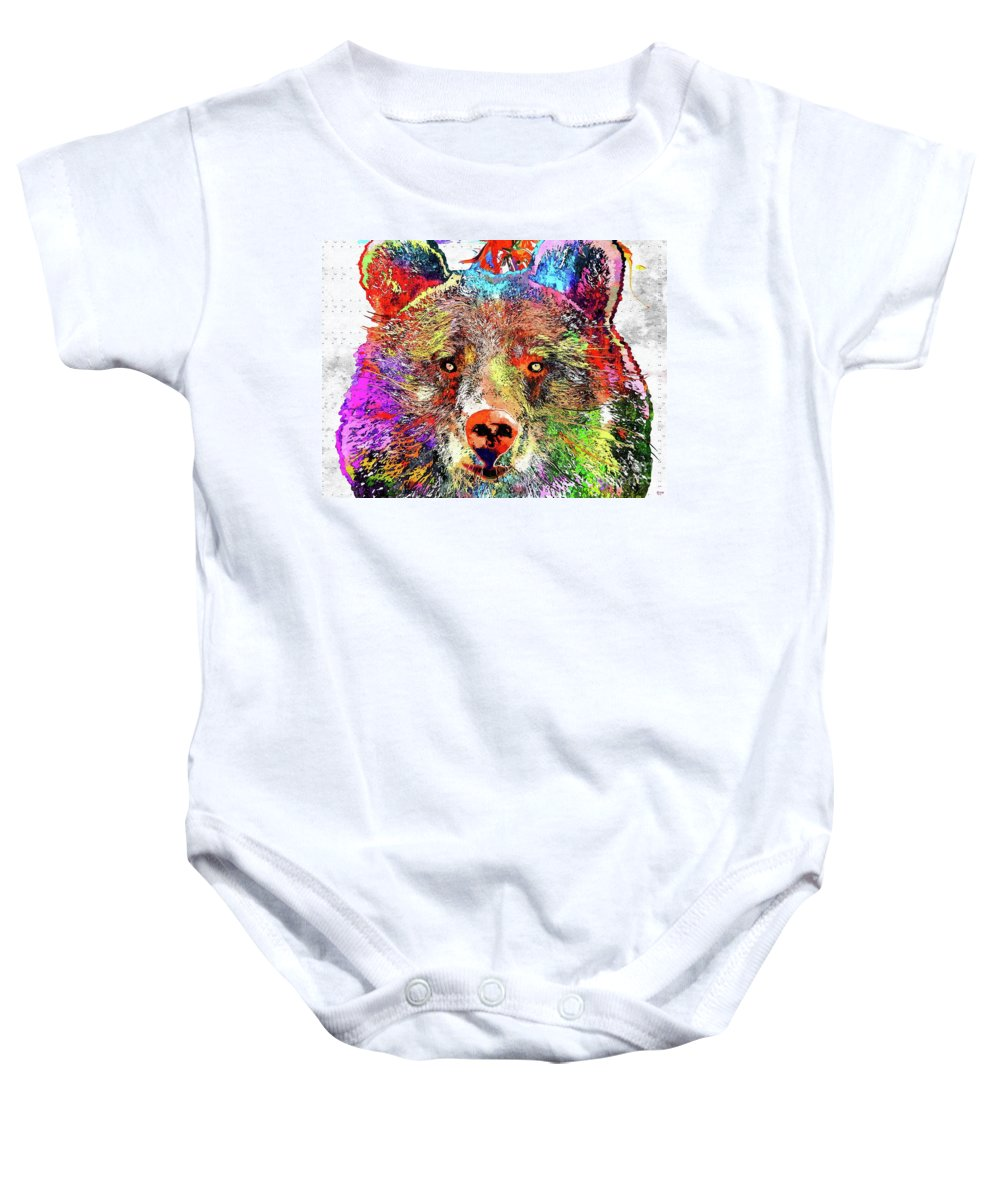 Bear Colored Baby Onesie featuring the mixed media Bear Colored Grunge by Daniel Janda